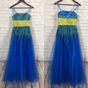 Faviana Couture Blue and Green Sequin Prom